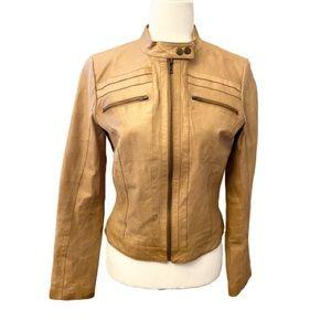 Arden B Tan Leather Moto Biker Jacket- Medium